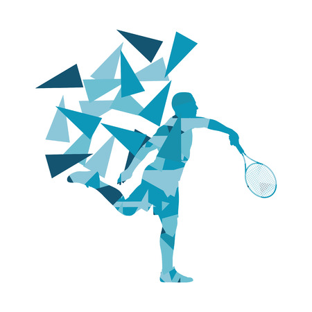 fragments: Tennis player man abstract illustration made of polygon fragments isolated on white