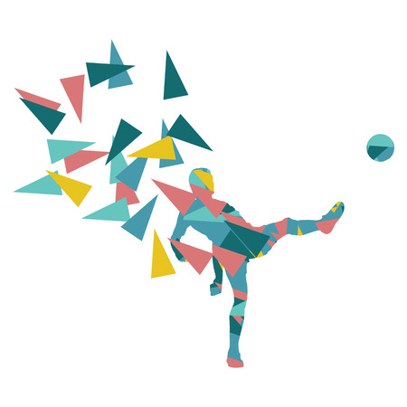 fragments: Soccer football player vector background abstract illustration concept made with polygon fragments isolated on white Illustration