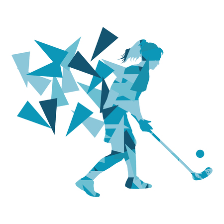 fragments: Floorball, street hockey woman player abstract illustration made with polygon fragments isolated on white Illustration