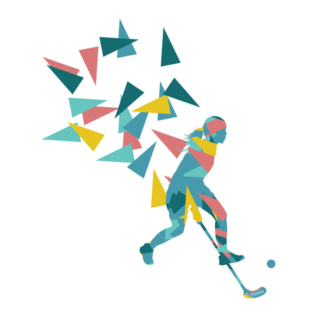floorball: Floorball, street hockey woman player abstract illustration made with polygon fragments isolated on white Illustration