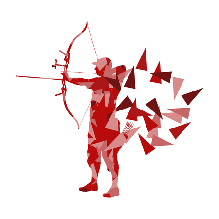 man made: Archery man archer training with bow vector background concept made with polygon fragments isolated on white Illustration