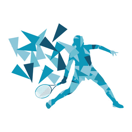 smash: Tennis player woman abstract illustration made of polygon fragments isolated on white