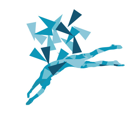 Swimmer professional jumping position vector abstract illustration concept made with polygon fragments isolated on white Illustration
