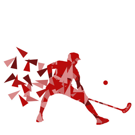 indoor sport: Floorball man player floor hockey abstract background illustration concept made with polygon fragments isolated on white
