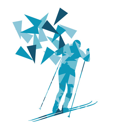 Female woman skiing vector background winter abstract sport illustration made with polygon fragments isolated on white Illustration