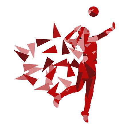 Volleyball-Spieler Frau Silhouette Polygons Fragmente Konzept Hintergrund Vektor isoliert auf weiß Standard-Bild - 64516357