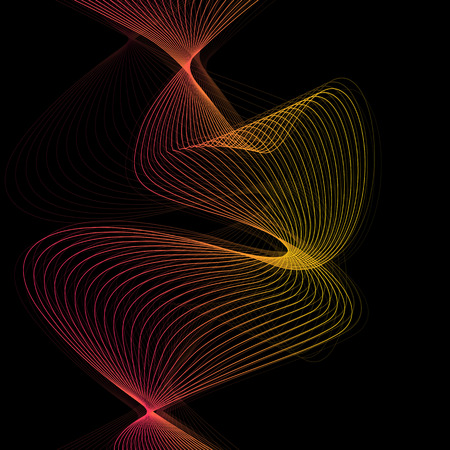 Abstract wave lines vector black background illustration Illustration