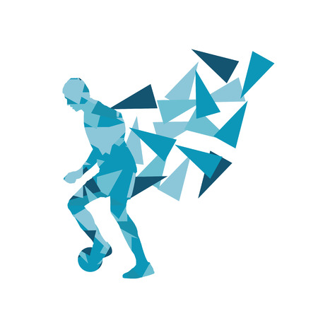 Soccer football player vector background abstract illustration concept made with polygon fragments isolated on white Illustration
