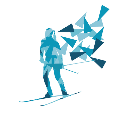 recreational: Female woman skiing vector background winter abstract sport illustration made with polygon fragments isolated on white Illustration