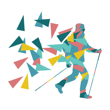 Hiking and nordic walking person vector background abstract concept made of polygon fragments isolated on white