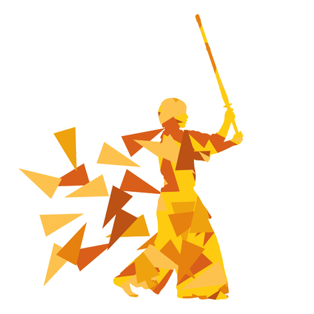 martial arts woman: Kendo fighter vector background abstract illustration concept made with polygon fragments isolated on white