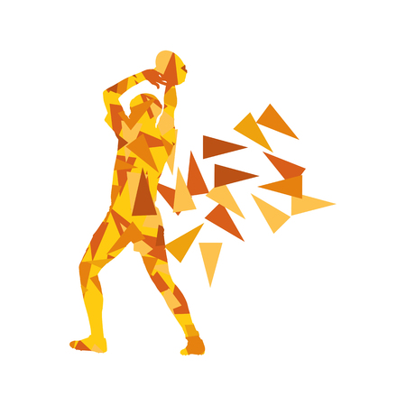 Male rugby player man abstract vector background made of polygon fragments isolated on white