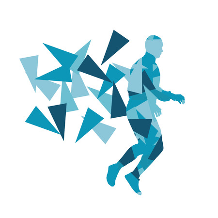 fragments: Man stretching exercise fitness warm up vector background abstract illustration concept made of polygon fragments isolated on white Illustration