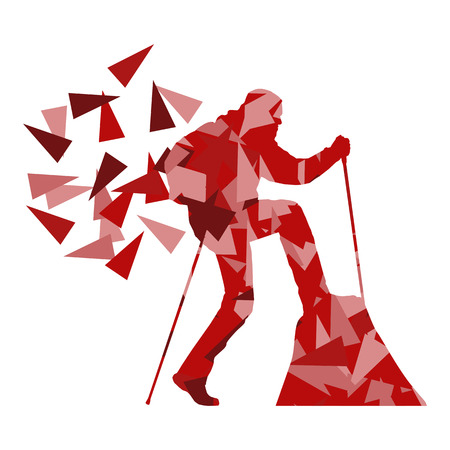 white person: Hiking and nordic walking person vector background abstract concept made of polygon fragments isolated on white