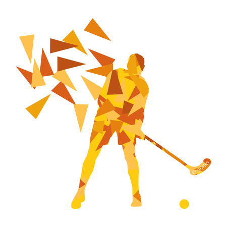 man made: Floorball man player floor hockey abstract background illustration concept made with polygon fragments isolated on white