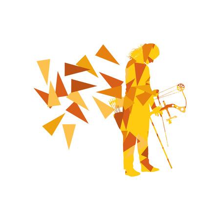 Tiro con arco arquero de mujer arquero con el concepto de fondo de vector de arco hecho con fragmentos de polígono aislados en blanco