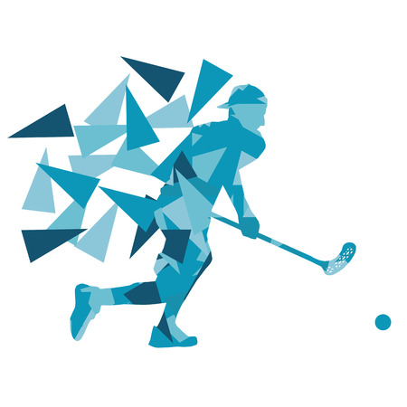 floor ball: Floorball man player floor hockey abstract background illustration concept made with polygon fragments isolated on white