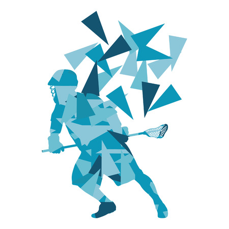 fragments: Lacrosse player abstract vector background illustration made of polygon fragments isolated on white