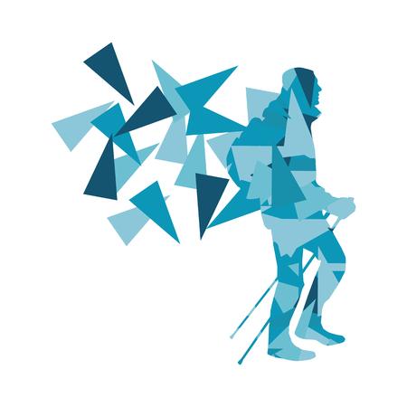Wandelen en nordic walking persoon vector achtergrond abstract concept gemaakt van veelhoek fragmenten op wit wordt geïsoleerd