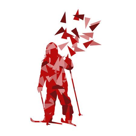 Skià «n kid skiër vector achtergrond abstracte illustratie concept gemaakt van veelhoek fragmenten geïsoleerd op wit