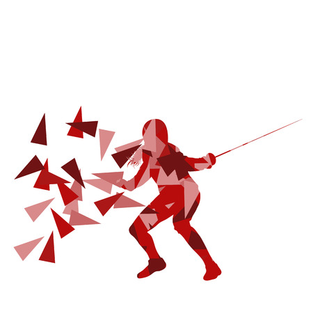 fencing foil: Woman fencing sport vector background concept illustration made of polygon fragments isolated on white