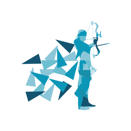 longbow: Archery woman archer training with bow vector background concept made with polygon fragments isolated on white Illustration