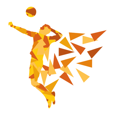 Volleyball player man silhouette made of polygon fragments vector background concept isolated on white