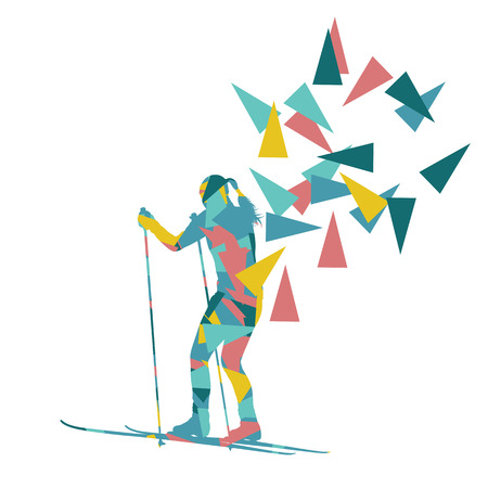 fragments: Female woman skiing vector background winter abstract sport illustration made with polygon fragments isolated on white Illustration