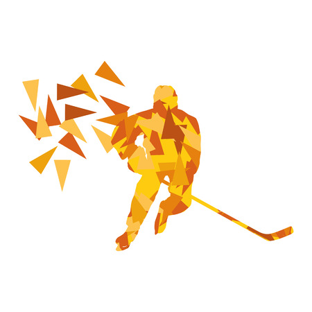 fragments: Ice hockey player vector background abstract concept made of polygon fragments isolated on white