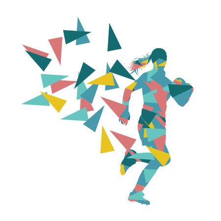 jugador de rugby femenina mujer abstracta del vector del fondo hecho de fragmentos de polígono aislado en blanco