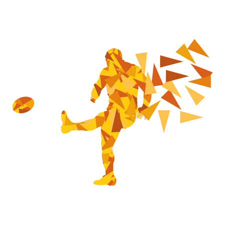 action girl: Male rugby player man abstract vector background made of polygon fragments isolated on white