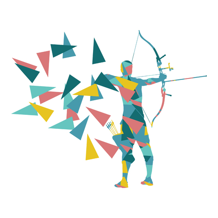 Archery man archer training with bow vector background concept made with polygon fragments isolated on white