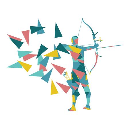entrenamiento del hombre arquero tiro con arco con arco vector concepto de fondo hecho con fragmentos de polígono aislado en blanco Ilustración de vector