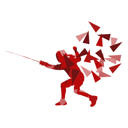 sport woman: Woman fencing sport vector background concept illustration made of polygon fragments isolated on white