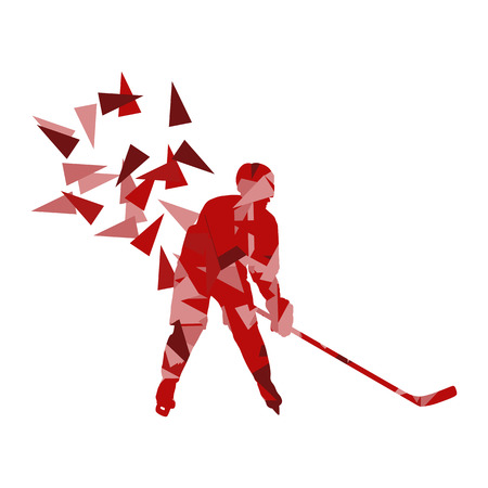 puck: Ice hockey player vector background abstract concept made of polygon fragments isolated on white