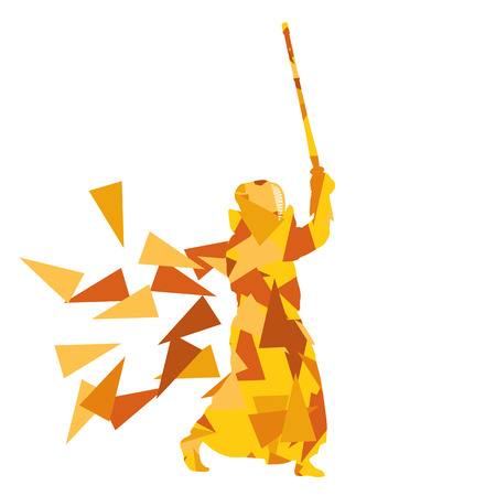arts: Kendo fighter vector background abstract illustration concept made with polygon fragments isolated on white