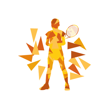 fragments: Tennis player woman abstract illustration made of polygon fragments isolated on white