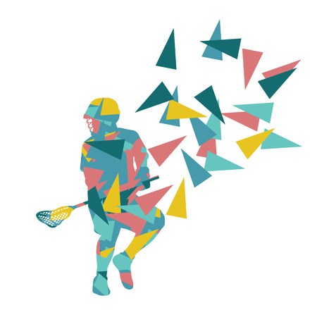 lax: Lacrosse player abstract vector background illustration made of polygon fragments isolated on white