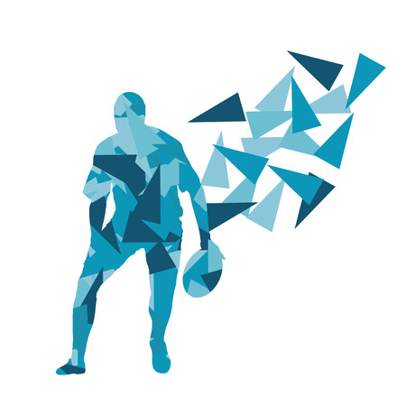 la union hace la fuerza: Male rugby player man abstract vector background made of polygon fragments isolated on white