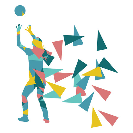competitor: Volleyball player woman silhouette made of polygon fragments vector background concept isolated on white