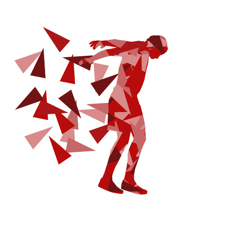 Man stretching exercise fitness warm up vector background abstract illustration concept made of polygon fragments isolated on white Illustration