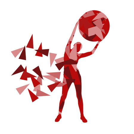 sport fitness: Woman fitness ball exercise workout vector background abstract illustration made of polygon fragments isolated on white