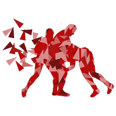 scrum: Male rugby player man abstract vector background made of polygon fragments isolated on white