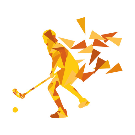 Floorball man player floor hockey abstract background illustration concept made with polygon fragments isolated on white