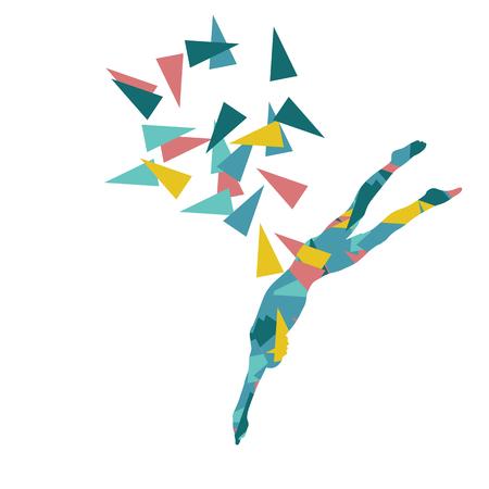 Swimmer vecteur de position de saut professionnelle illustration abstraite notion faite avec des fragments de polygone isolé sur blanc