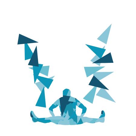 Hombre ejercicio de estiramiento de la aptitud calentar vector de fondo abstracto concepto hecha de fragmentos de polígono aislado en blanco Ilustración de vector