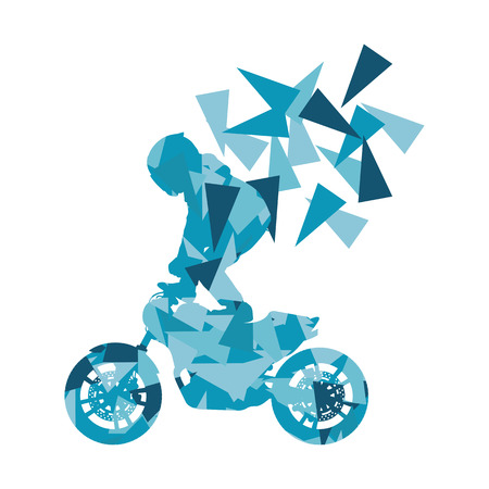 Motorcyclist performed extreme stunts driver vector abstract background illustration made of polygon fragments isolated on white Illustration