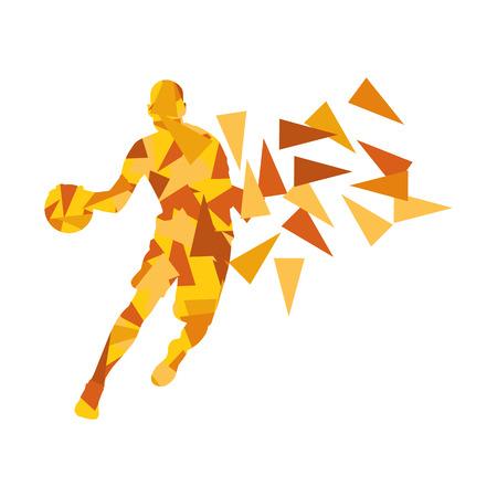 El jugador de baloncesto hombre vector de fondo abstracto concepto de hecho con fragmentos de polígono aislado en blanco