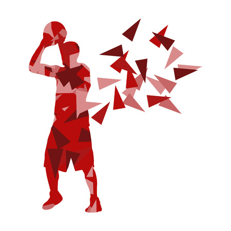 man made: Basketball player man vector background abstract illustration concept made with polygon fragments isolated on white Illustration