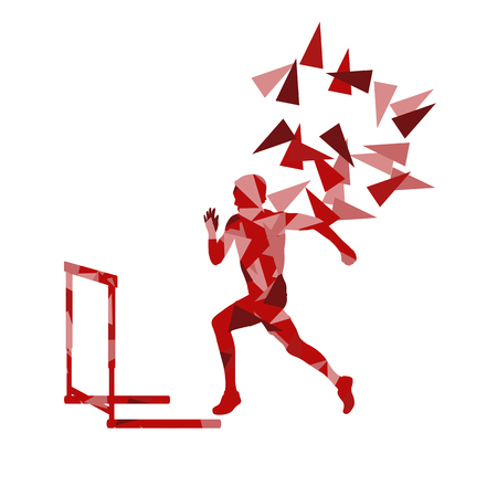 Man hurdles race male athlete competing vector abstract background illustration made of polygon fragments isolated on white Illustration